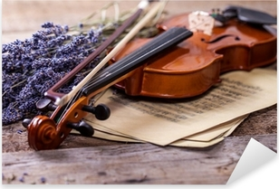 Vintage composition with violin and lavender Pixerstick Sticker