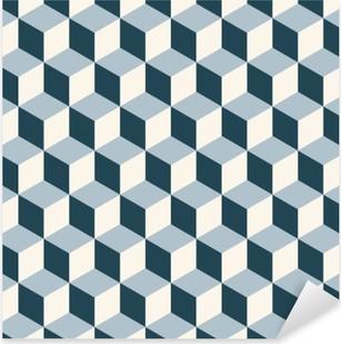 Vintage cubes 3d pattern background. Retro vector pattern. Pixerstick Sticker