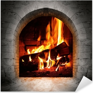 Vintage fireplace with burning logs. Pixerstick Sticker