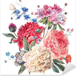 Vintage Floral Greeting Card with Blooming Peonies Pixerstick Sticker