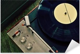 Vintage gramophone with vinyl record Pixerstick Sticker