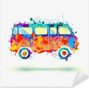 Vintage Hippie Camper bus. Vector Pixerstick Sticker