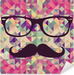 Pixerstick Sticker Vintage hipster gezicht geometrisch patroon.