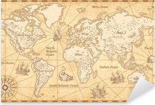 Vintage Illustrated World Map Pixerstick Sticker