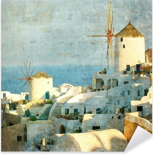 Vintage image of Oia village at Santorini island, Greece Pixerstick Sticker