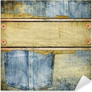 Pixerstick Sticker Vintage jeans achtergrond met plaats voor tekst