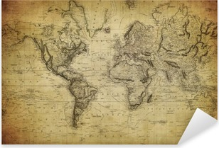 vintage map of the world 1814.. Pixerstick Sticker
