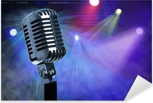 Vintage microphone on stage Pixerstick Sticker