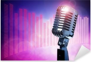 Vintage microphone on stage Pixerstick Sticker