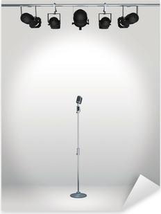 vintage microphone with spotlight Pixerstick Sticker