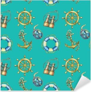 Pixerstick Sticker Vintage naadloze patroon met nautische elementen, geïsoleerd op turkooizen achtergrond. oude verrekijker, reddingsboei, antiek zeilbootstuurwiel, scheepsanker. aquarel hand getekend schilderij illustratie.