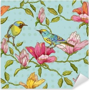 Sticker Pixerstick Vintage seamless - Fleurs et Oiseaux