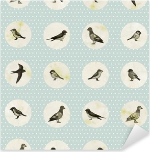 Vintage seamless pattern with cute little birds. Vector seamless texture for wallpapers, pattern fills, web page backgrounds Pixerstick Sticker