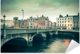 Vintage style view of Dublin Ireland Grattan Bridge Pixerstick Sticker