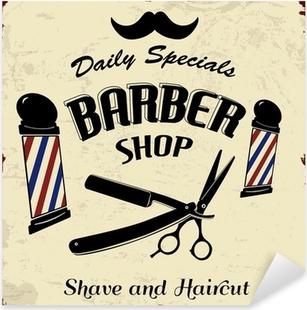 Sticker Pixerstick Vintage Styled Barber Shop