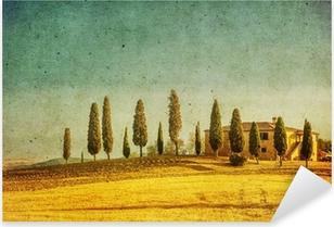 vintage tuscan landscape Pixerstick Sticker