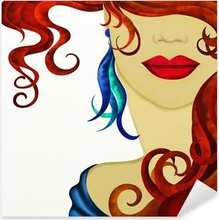 viso di donna con capelli rossi Pixerstick Sticker
