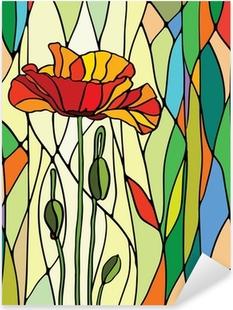 Sticker Pixerstick Vitrail floral