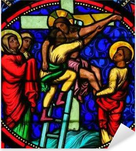 Sticker Pixerstick Vitraux - Jésus tiré de la Croix