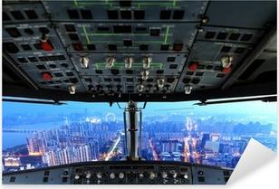 Pixerstick Sticker Vliegtuig cockpit en de stad van de nacht