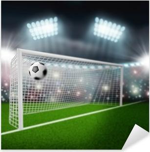 Pixerstick Sticker Voetbal bal vliegt in het doel