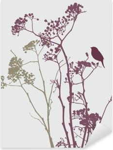 Pixerstick Sticker Vogel op weide bloemen