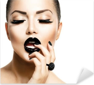 Vogue Style Fashion Girl with Trendy Caviar Black Manicure Pixerstick Sticker