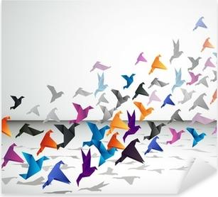 Sticker Pixerstick Vol intérieur, les oiseaux commencent à voler Origami dans l'espace fermé.