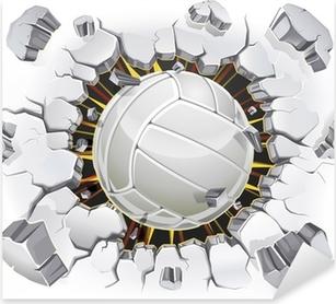 Pixerstick Sticker Volleybal en oude gips muur schade. Vector illustratie