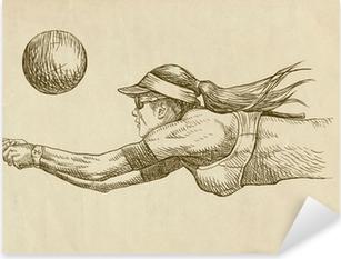 volleyball player - drawing Pixerstick Sticker