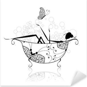 Pixerstick Sticker Vrouw in de badkamer met schuim voor uw ontwerp