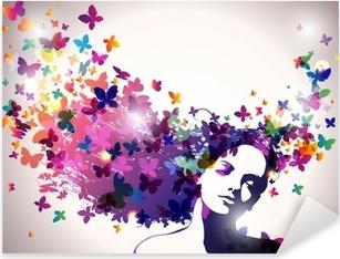 Pixerstick Sticker Vrouw met een vlinders in haar.