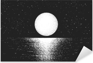 Sticker Pixerstick Vue à la pleine lune pendant la nuit sur sea.lunar reflet sur le fond water.vector