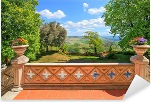 Sticker Pixerstick Vue de la terrasse du château. Novello, Italie du Nord.