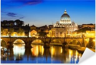 Sticker Pixerstick Vue de nuit de la basilique Saint-Pierre et le Tibre, à Rome, en Italie