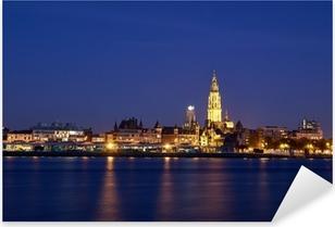Sticker Pixerstick Vue de nuit sur la ville d'Anvers