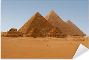 Sticker Pixerstick Vue panoramique de six pyramides égyptiennes de Gizeh, en Egypte