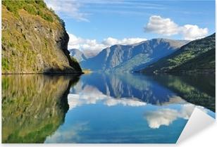 Sticker Pixerstick Vue panoramique sur le fjord à Flam, Norvège