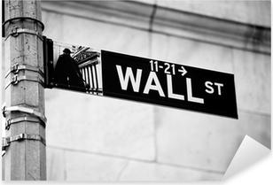 Wall Street road sign in the corner of New York Stock Exchange Pixerstick Sticker