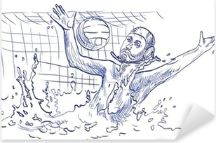 water polo, goalkeeper - hand drawing Pixerstick Sticker