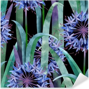 Watercolor Agapanthus Flower Seamless Pattern on Black Background Pixerstick Sticker