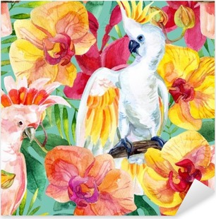 watercolor Australian Cockatoo seamless pattern Pixerstick Sticker