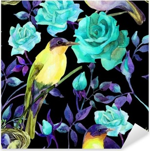 Watercolor birds on the blue roses Pixerstick Sticker