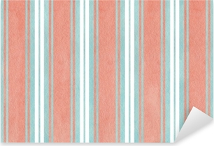Watercolor blue and pink striped background. Pixerstick Sticker