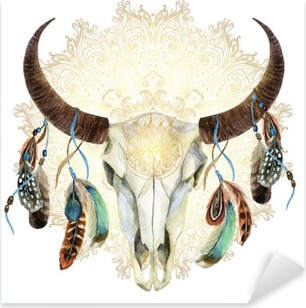 watercolor cow skull with feathers Pixerstick Sticker
