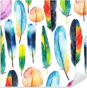 Watercolor feathers set.Pattern with hand drawn feathers Pixerstick Sticker