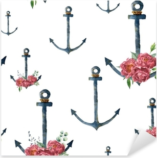 Watercolor pattern with anchor and peony flower. Hand painted vintage nautical illustration with floral decor isolated on white background. For design, print or background Pixerstick Sticker