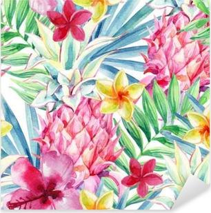 Watercolor pineapple fruit seamless pattern Pixerstick Sticker