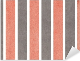 Watercolor pink and grey striped background. Pixerstick Sticker