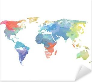 Watercolor World Map Poster Pixerstick Sticker